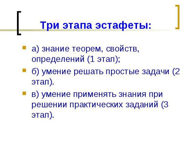 Три этапа эстафеты:а) знание теорем, свойств, определений (1 этап);б) умение решать простые задачи (2 этап).в) умение применять знания при решении практических заданий (3 этап).