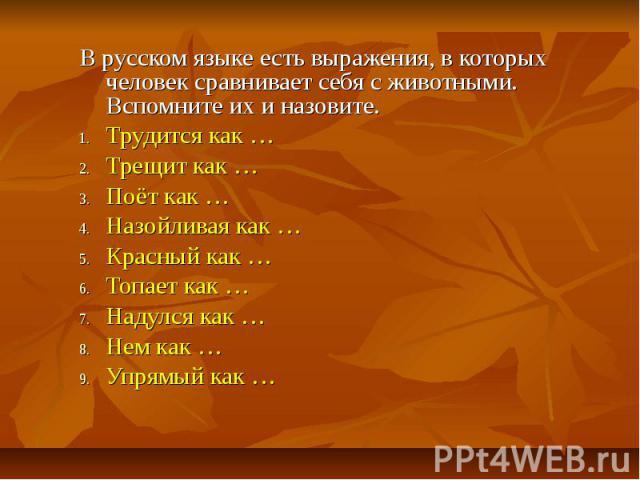 В русском языке есть выражения, в которых человек сравнивает себя с животными. Вспомните их и назовите. Трудится как … Трещит как … Поёт как … Назойливая как … Красный как … Топает как … Надулся как … Нем как … Упрямый как …