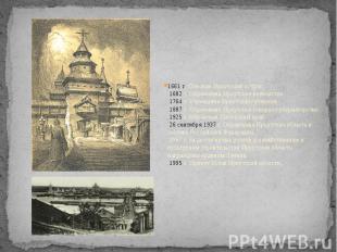 1661 г. Основан Иркутский острог.1682 г. Образовано Иркутское воеводство.176