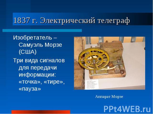 1837 г. Электрический телеграфИзобретатель – Самуэль Морзе (США)Три вида сигналов для передачи информации: «точка», «тире», «пауза»