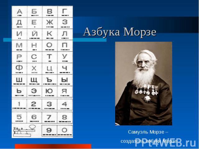Азбука МорзеСамуэль Морзе – создатель азбуки Морзе