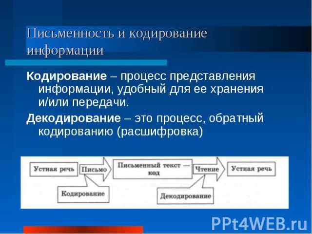 Письменность и кодирование информацииКодирование – процесс представления информации, удобный для ее хранения и/или передачи.Декодирование – это процесс, обратный кодированию (расшифровка)