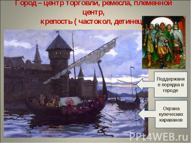 Город – центр торговли, ремесла, племенной центр,крепость ( частокол, детинец) Поддержание порядка в городеОхрана купеческих караванов
