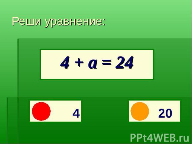 4 + а = 24Реши уравнение: