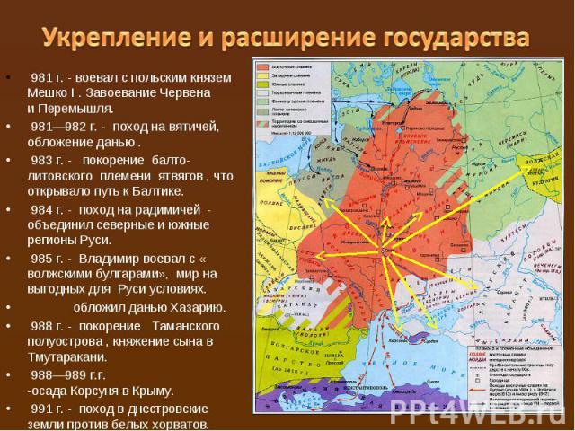 Укрепление и расширение государства981 г. - воевал с польским князем Мешко I. Завоевание Червена иПеремышля.981—982 г. - поход навятичей, обложение данью .983 г. -  покорение балто-литовского племени ятвягов, что открывало путь к Балтике.…