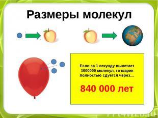 Размеры молекулЕсли за 1 секунду вылетает 1000000 молекул, то шарик полностью сд