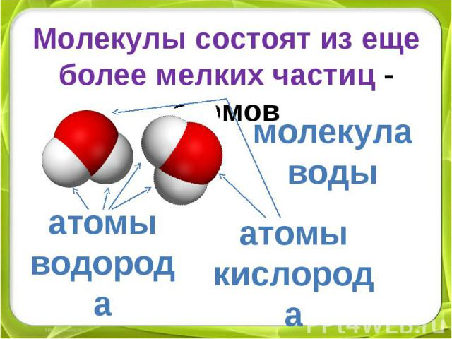 Молекулы состоят из еще более мелких частиц - атомовмолекула водыатомы водородаатомы кислорода