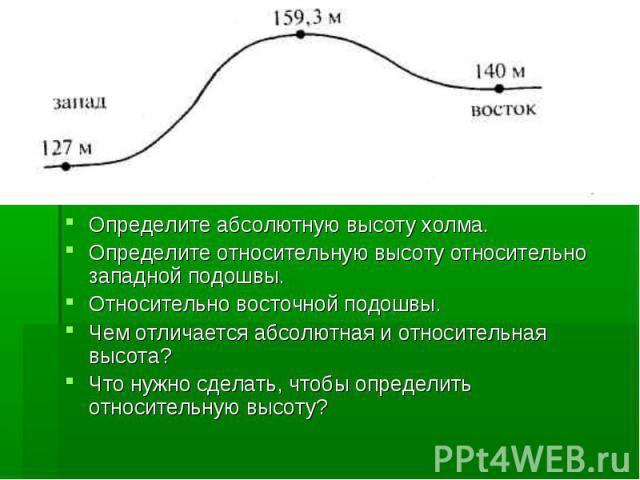 Определите абсолютную высоту холма.Определите относительную высоту относительно западной подошвы.Относительно восточной подошвы.Чем отличается абсолютная и относительная высота?Что нужно сделать, чтобы определить относительную высоту?