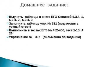 Домашнее задание:Выучить таблицы в книге ЕГЭ Сениной 6.3.4. 1, 6.3.4. 2 , 6.3.4.