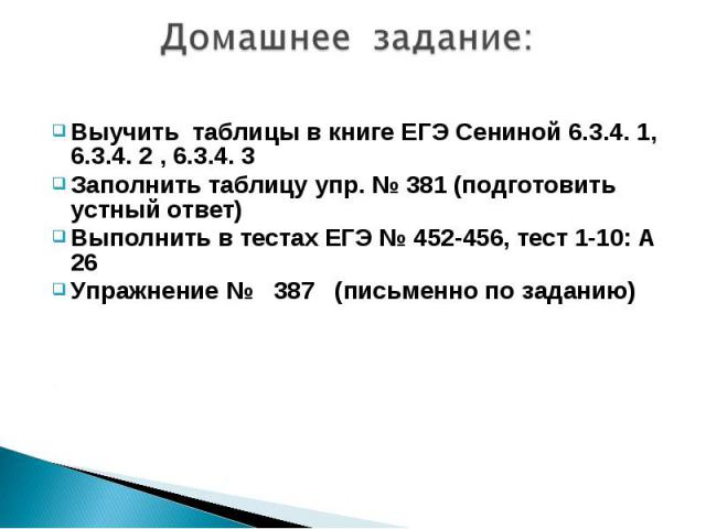 Домашнее задание:Выучить таблицы в книге ЕГЭ Сениной 6.3.4. 1, 6.3.4. 2 , 6.3.4. 3Заполнить таблицу упр. № 381 (подготовить устный ответ)Выполнить в тестах ЕГЭ № 452-456, тест 1-10: А 26Упражнение № 387 (письменно по заданию)