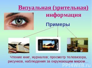Визуальная (зрительная) информацияПримеры Чтение книг, журналов; просмотр телеви