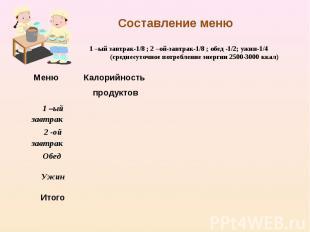 Составление меню1 –ый завтрак-1/8 ; 2 –ой-завтрак-1/8 ; обед -1/2; ужин-1/4(сред