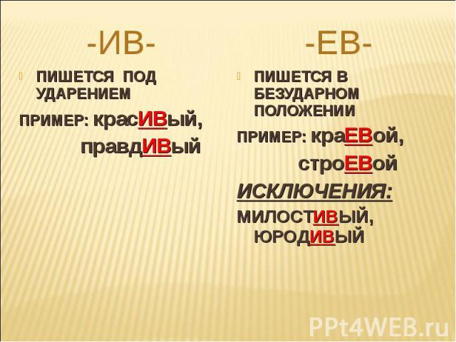 -ИВ-ПИШЕТСЯ ПОД УДАРЕНИЕМПРИМЕР: красИВый, правдИВый-ЕВ-ПИШЕТСЯ В БЕЗУДАРНОМ ПОЛОЖЕНИИПРИМЕР: краЕВой, строЕВойИСКЛЮЧЕНИЯ:МИЛОСТИВЫЙ, ЮРОДИВЫЙ