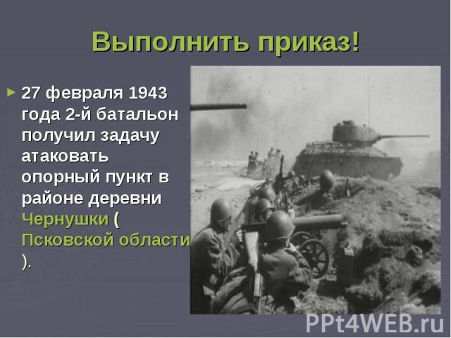 Выполнить приказ!27 февраля 1943 года 2-й батальон получил задачу атаковать опорный пункт в районе деревни Чернушки (Псковской области).