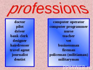 professionsdoctorpilotdriverbank clerk designerhairdressertravel agentjournalist