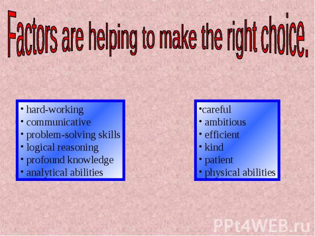 Factors are helping to make the right choice. hard-working communicative problem-solving skills logical reasoning profound knowledge analytical abilitiescareful ambitious efficient kind patient physical abilities