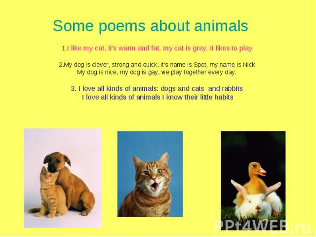 Some poems about animals1.I like my cat, it's warm and fat, my cat is grey, it likes to play2.My dog is clever, strong and quick, it's name is Spot, my name is NickMy dog is nice, my dog is gay, we play together every day.3. I love all kinds of anim…