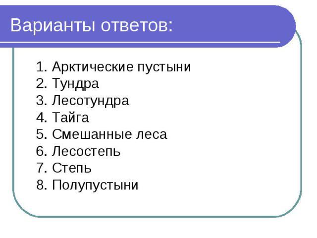 Варианты ответов: 1. Арктические пустыни2. Тундра3. Лесотундра4. Тайга5. Смешанные леса6. Лесостепь7. Степь8. Полупустыни