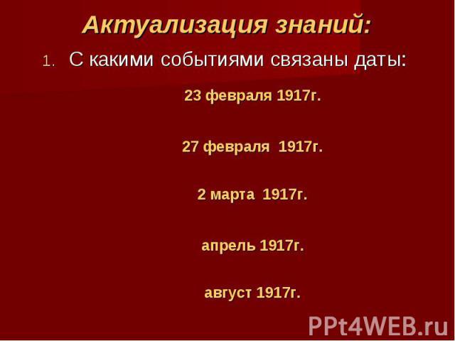 Актуализация знаний:С какими событиями связаны даты: