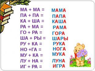 МА + МА =ПА + ПА =КА + ША =РА + МА =ГО + РА =ША + РЫ =РУ + КА =НО +ГА =МУ + КА =