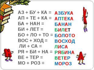 АЗ + БУ + КА =АП + ТЕ + КА =БА + НАН =БИ + ЛЕТ = БО + ЛО + ТО =ВОС + ХОД = ЛИ +
