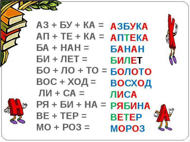 АЗ + БУ + КА =АП + ТЕ + КА =БА + НАН =БИ + ЛЕТ = БО + ЛО + ТО =ВОС + ХОД = ЛИ + СА =РЯ + БИ + НА =ВЕ + ТЕР =МО + РОЗ =