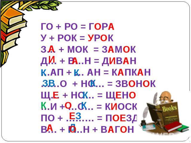 ГО + РО = ГОРАУ + РОК = УРОК З… + МОК = ЗАМОКД… + В…Н = ДИВАН…АП + … АН = КАПКАН……О + НО… = ЗВОНОКЩ… + НО… = ЩЕНОК…И + …С… = КИОСКПО + ……… = ПОЕЗДВ… + Г…Н + ВАГОН