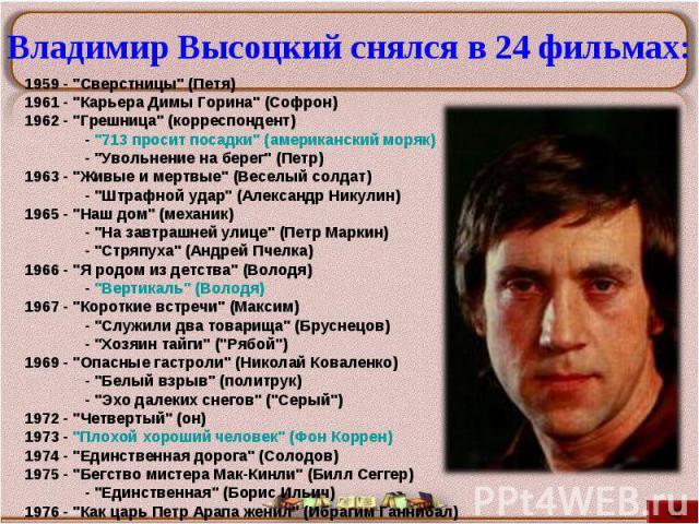Владимир Высоцкий снялся в 24 фильмах:1959 -