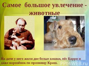 Cамое большое увлечение - животныеНа даче у него жили две белые кошки, пёс Барри