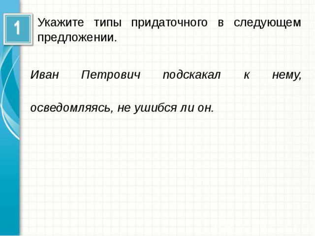 Укажите типы придаточного в следующем предложении.Иван Петрович подскакал к нему, осведомляясь, не ушибся ли он.