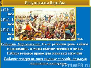 Результаты борьбы.1839 – Парламент отверг Первую петицию. Забастовки. Аресты уча