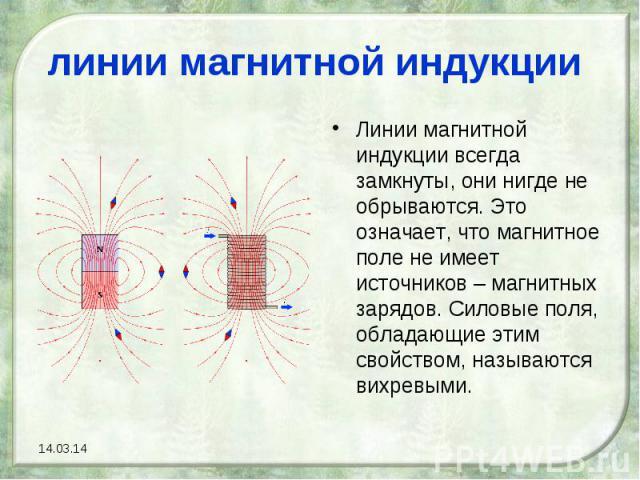 линии магнитной индукции Линии магнитной индукции всегда замкнуты, они нигде не обрываются. Это означает, что магнитное поле не имеет источников – магнитных зарядов. Силовые поля, обладающие этим свойством, называются вихревыми.