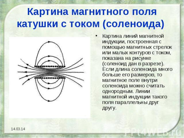 Картина магнитного поля катушки с током (соленоида) Картина линий магнитной индукции, построенная с помощью магнитных стрелок или малых контуров с током, показана на рисунке (соленоид дан в разрезе). Если длина соленоида много больше его размеров, т…