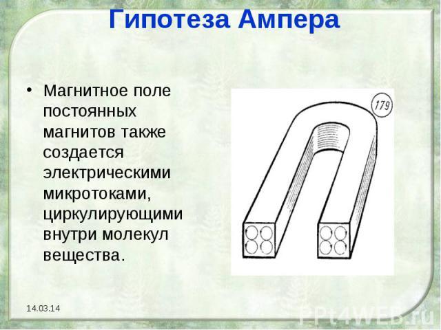 Гипотеза Ампера Магнитное поле постоянных магнитов также создается электрическими микротоками, циркулирующими внутри молекул вещества.