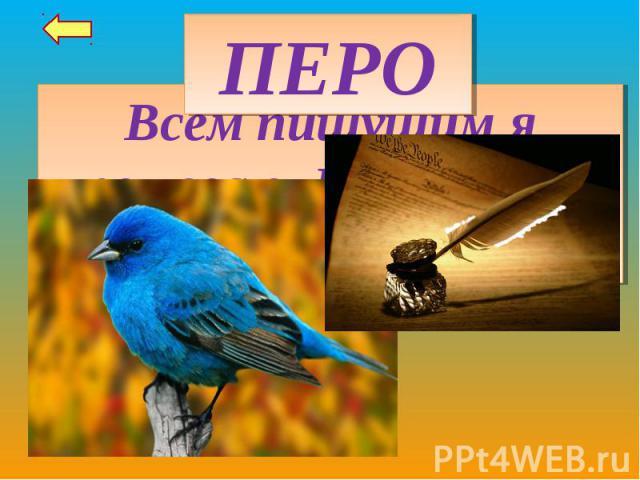 ПЕРОВсем пишущим я помогаю. И птиц от стужи согреваю.