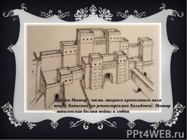 Ворота Иштар - часть мощного крепостного вала вокруг Вавилона (по реконструкции Кольдевея). Иштар - вавилонская богиня войны и любви
