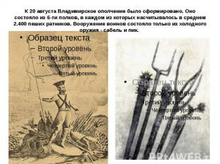 К 20 августа Владимирское ополчение было сформировано. Оно состояло из 6-ти полк