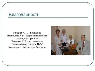 Благодарность Боковой А. Г., профессор Иваницина Л.В., координатор международног