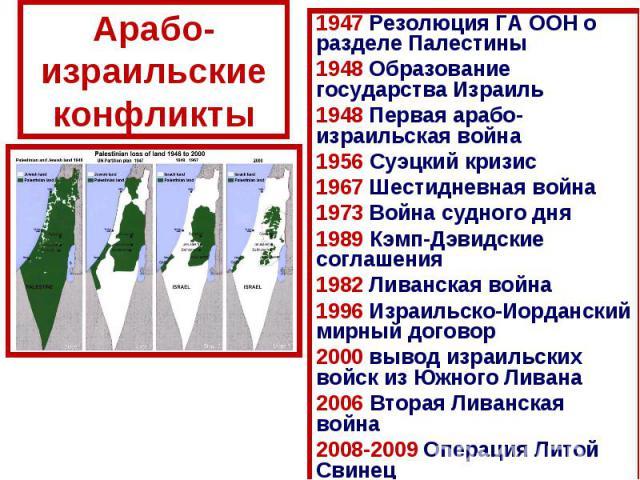 Арабо-израильские конфликты1947 Резолюция ГА ООН о разделе Палестины1948 Образование государства Израиль1948 Первая арабо-израильская война1956 Суэцкий кризис1967 Шестидневная война1973 Война судного дня1989 Кэмп-Дэвидские соглашения1982 Ливанская в…