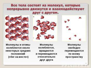 Все тела состоят из молекул, которые непрерывно движутся и взаимодействуют друг