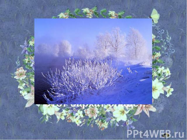 В белом бархате деревня – И заборы и деревья. А как ветер нападёт,Этот бархат опадёт.
