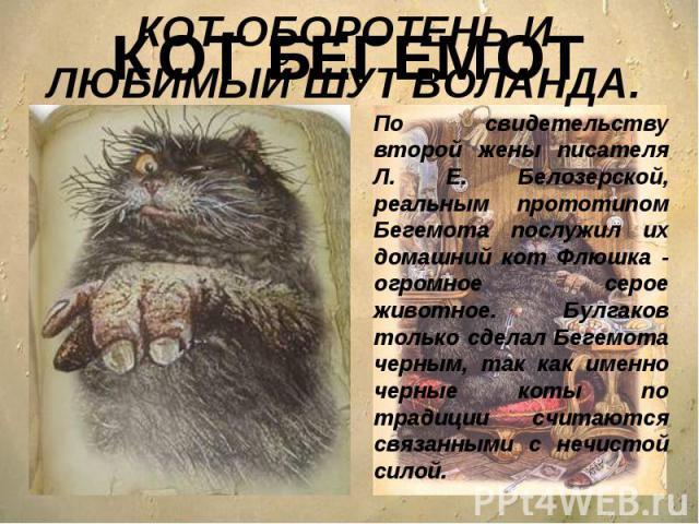 КОТ-ОБОРОТЕНЬ И ЛЮБИМЫЙ ШУТ ВОЛАНДА.По свидетельству второй жены писателя Л. Е. Белозерской, реальным прототипом Бегемота послужил их домашний кот Флюшка - огромное серое животное. Булгаков только сделал Бегемота черным, так как именно черные коты п…