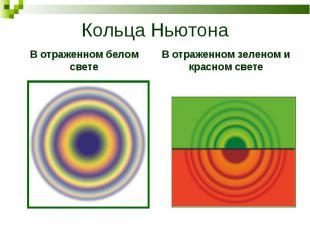 Кольца НьютонаВ отраженном белом светеВ отраженном зеленом и красном свете