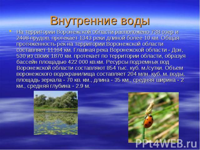 Внутренние водыНа территории Воронежской области расположено 738 озер и 2408 прудов, протекает 1343 реки длиной более 10 км. Общая протяженность рек на территории Воронежской области составляет 11164 км. Главная река Воронежской области - Дон, 530 и…