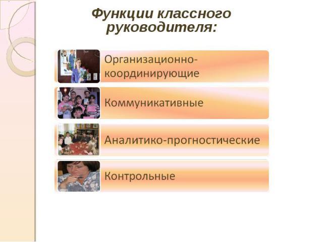 Функции классного руководителя:Организационно-координирующиеКоммуникативныеАналитико-прогностическиеКонтрольные