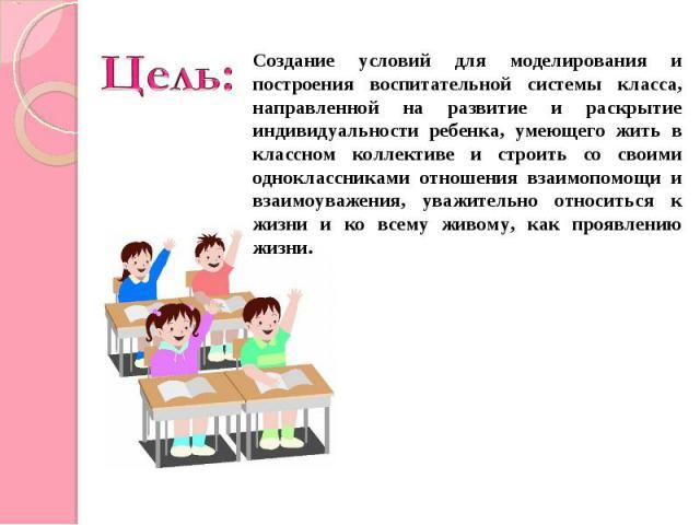 Цель:Создание условий для моделирования и построения воспитательной системы класса, направленной на развитие и раскрытие индивидуальности ребенка, умеющего жить в классном коллективе и строить со своими одноклассниками отношения взаимопомощи и взаим…