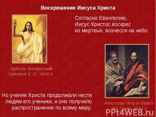 Воскрешение Иисуса ХристаСогласно Евангелию, Иисус Христос воскрес из мертвых, в