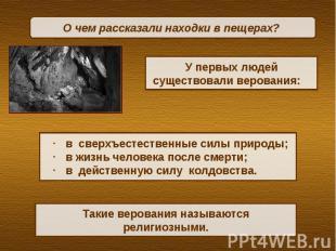 О чем рассказали находки в пещерах? У первых людей существовали верования: в све
