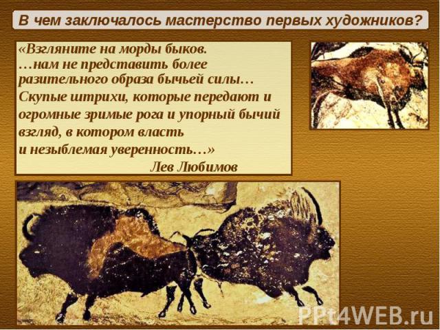 В чем заключалось мастерство первых художников?«Взгляните на морды быков. …нам не представить более разительного образа бычьей силы…Скупые штрихи, которые передают и огромные зримые рога и упорный бычий взгляд, в котором власть и незыблемая уверенно…