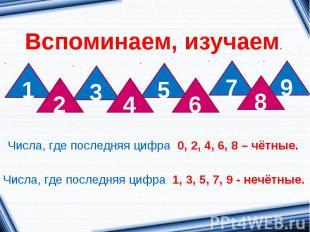 Вспоминаем, изучаем.Числа, где последняя цифра 0, 2, 4, 6, 8 – чётные.Числа, где